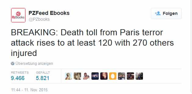 Twitter Meldung über Pariser Anschlag schon am 11.11.2015 ???